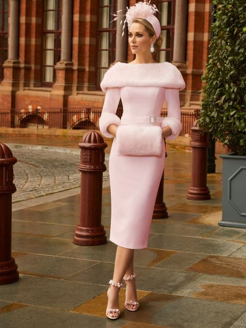 Full-length image of model wearing Veni Infantino for Ronald Joyce Bateau Neckline Dress with Faux Fur in Blush, Style 991810
