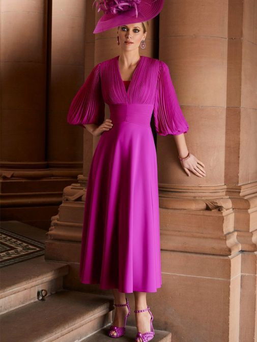 Model wearing Veni Infantino for Ronald Joyce Chiffon Fit and Flare Dress, Magenta Pink, Style 29651