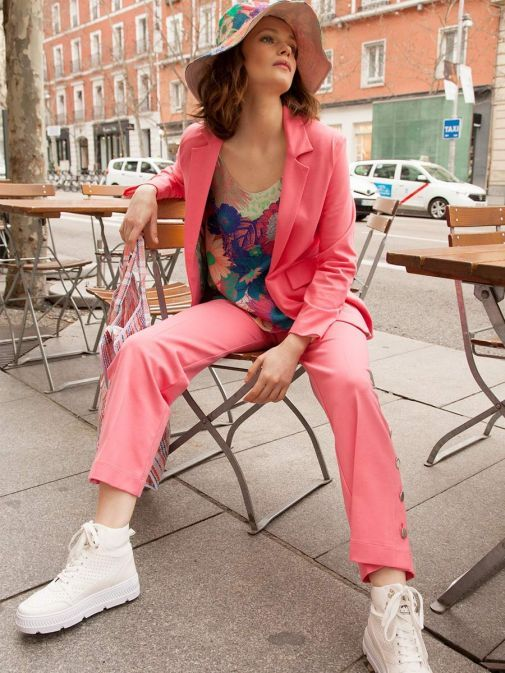 Full outfit shot of the Vilagallo Antonet Jacket in the Pink colour featuring pockets and long sleeves