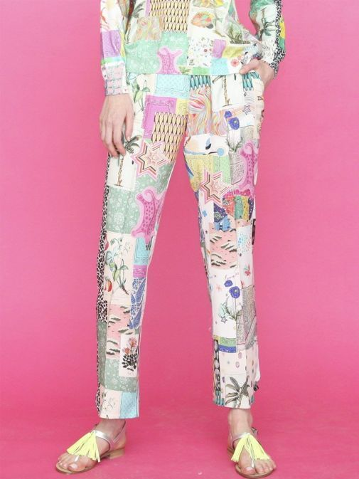 Front shot of the Vilagallo Denpasar Patchwork Trousers Multi-Coloured colour featuring pockets