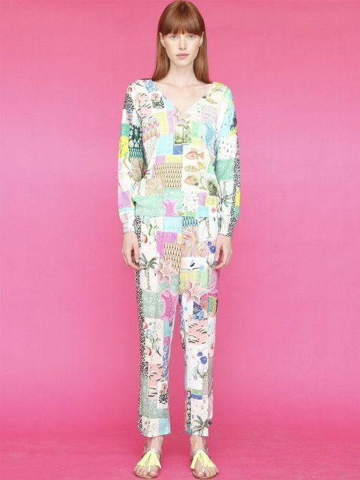 full outfit shot of the Vilagallo Denpasar Patchwork Trousers Multi-Coloured colour featuring pockets