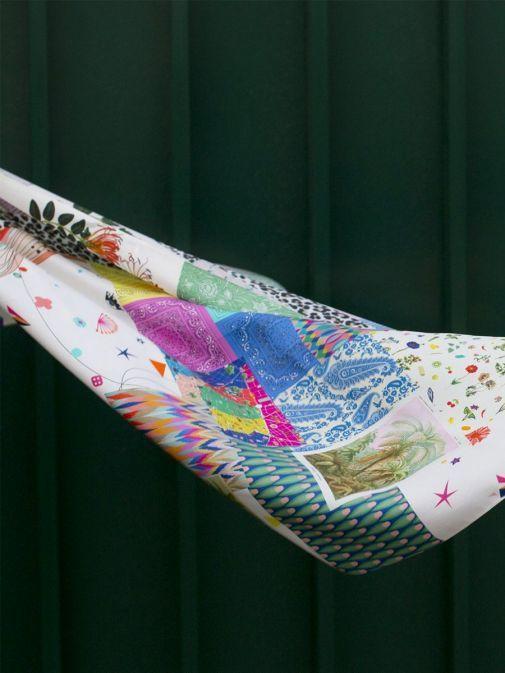side shot of the Vilagallo Denpasar Silk Scarf Multi-Coloured