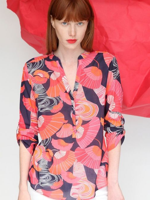 Front shot of the Vilagallo Filippa Shelter Voile Blouse Multi-Coloured featuring 3/4 length sleeves, rounded v-neckline, floral pattern