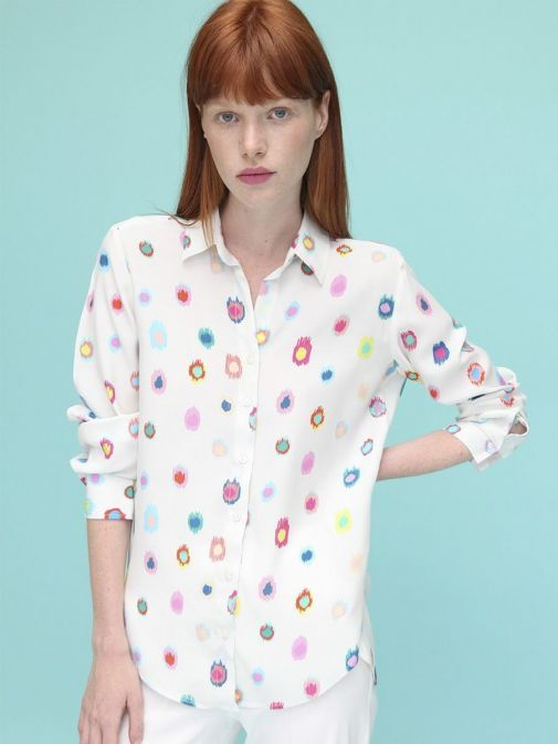 Full front shot of the Vilagallo Gaby Atuona Shirt in the Cream colour featuring coloured pattern throughout, long sleeves, shirt collar, and button fastening