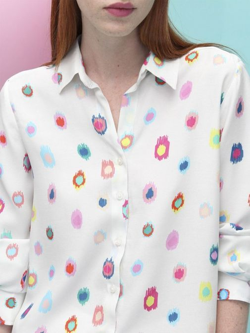front shot of the Vilagallo Gaby Atuona Shirt in the Cream colour featuring coloured pattern throughout, long sleeves, shirt collar, and button fastening