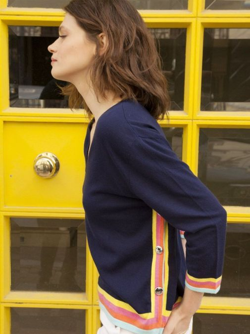 side shot of the Vilagallo Knitted Lavinia Sweater in the Navy colour featuring v-neckline, 3/4 length sleeves and coloured cuffs and edges, buttons