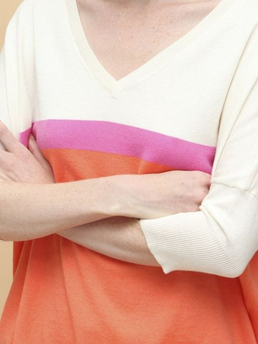 closeup of the Vilagallo Knitted Sweater Multi-Coloured featuring a v-neckline, 3/4 length sleeves and block colour stripes