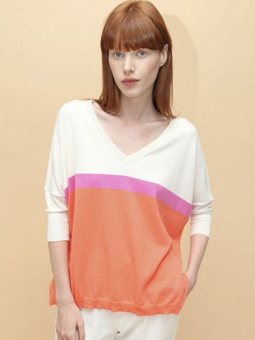 Front shot of the Vilagallo Knitted Sweater Multi-Coloured featuring a v-neckline, 3/4 length sleeves and block colour stripes