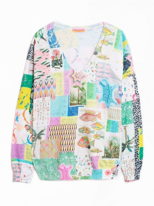 front shot of the Vilagallo Lara Patchwork Sweater Multi-Coloured featuring v-neckline, long sleeves, patchwork print