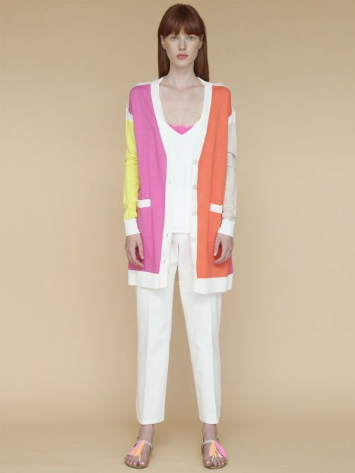 Front shot of the Vilagallo Long Line Cardigan Multi-Coloured featuring long sleeves, pockets and button fastening