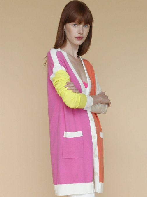 side shot of the Vilagallo Long Line Cardigan Multi-Coloured featuring long sleeves, pockets and button fastening