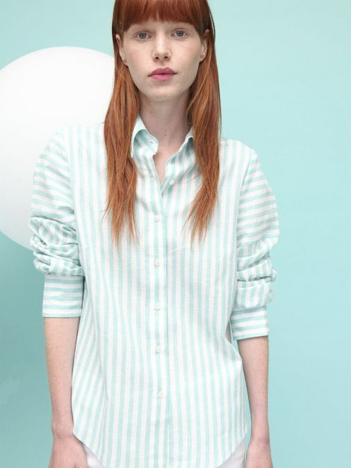 Front shot of the Vilagallo Mafalda Melrose Stripe Shirt in the Green colour featuring button fastening, shirt collar, long sleeves and buttoned cuffs