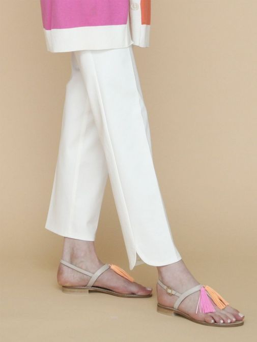 front side photo of the Vilagallo Ornella KN Trouser in the White colour featuring rounded hem to the bottom of each leg