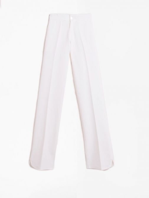 Front shot of the Vilagallo Ornella KN Trouser in the White colour featuring rounded hem to the bottom of each leg, elasticated waist and silver button fastening.