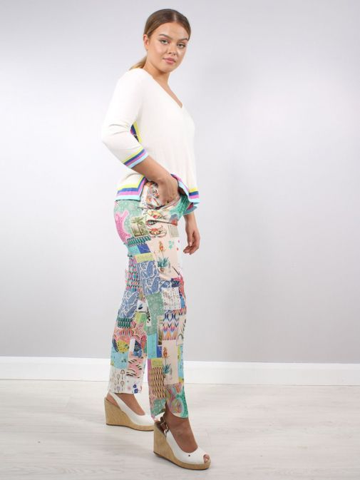 Model wearing the Vilagallo Denpasar Patchwork Trousers Multi-Coloured colour featuring pockets