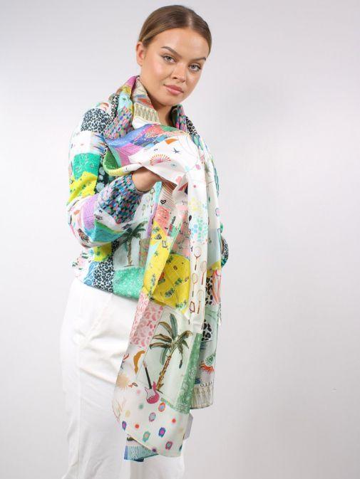 Model wearing the Vilagallo Denpasar Silk Scarf in Multi-Coloured