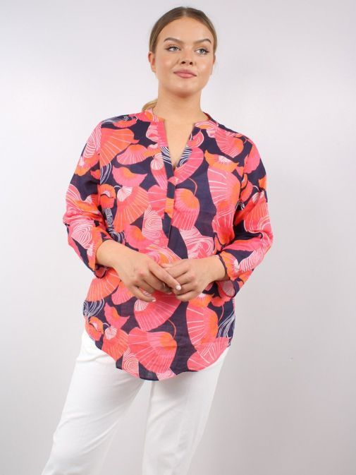 Model wearing the Vilagallo Filippa Shelter Voile Blouse Multi-Coloured featuring 3/4 length sleeves, rounded v-neckline, floral pattern