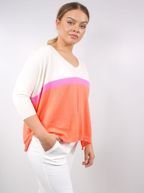 Model wearing the Vilagallo Knitted Sweater Multi-Coloured featuring a v-neckline, 3/4 length sleeves and block colour stripes