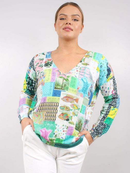Model wearing the Vilagallo Lara Patchwork Sweater Multi-Coloured featuring v-neckline, long sleeves, patchwork print