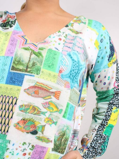 closeup of the Vilagallo Lara Patchwork Sweater Multi-Coloured featuring long sleeves, patchwork print