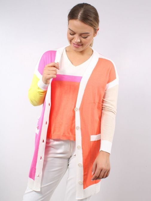 Model wearing the Vilagallo Long Line Cardigan Multi-Coloured featuring long sleeves, pockets and button fastening