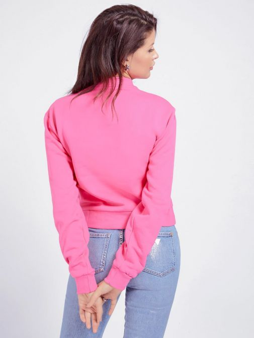 Guess Ladies Pink Rhinestone Triangle Logo Sweater W1rq04k68i0/G64e-Pink