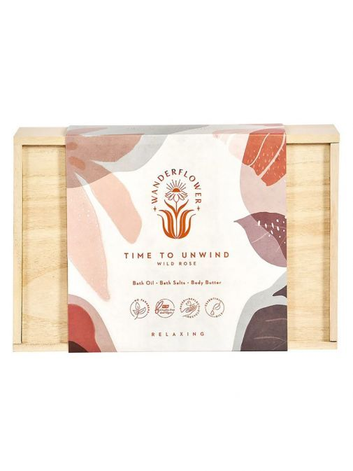 Front shot of the Wild Rose Time to Unwind Relaxing Set Wooden Gift Box