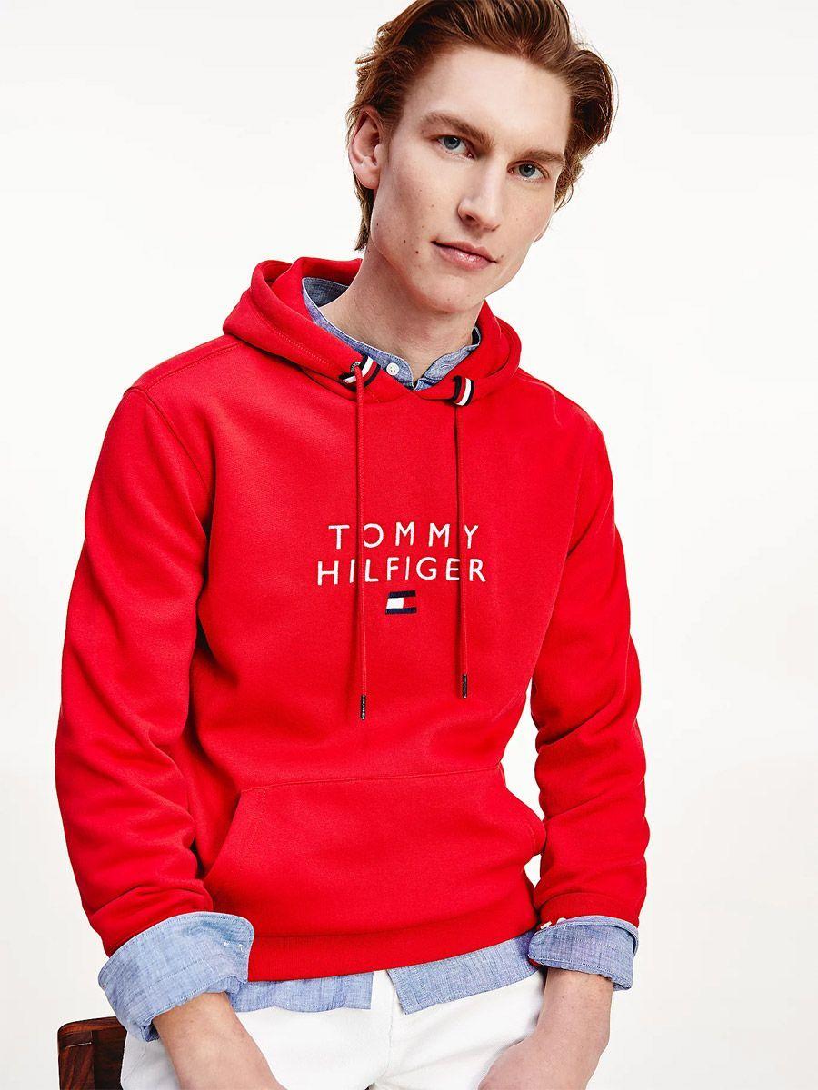 TOMMY HILFIGER HOODY MENS PRIMARY RED HOODED SWEATSHIRT