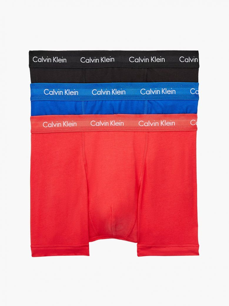Calvin Klein Mens 3 Pack Trunks - Blue, Black, Red