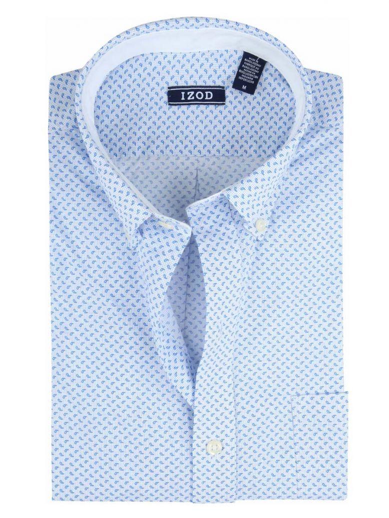 IZOD Bright White Blue Drops Print Long Sleeve Shirt