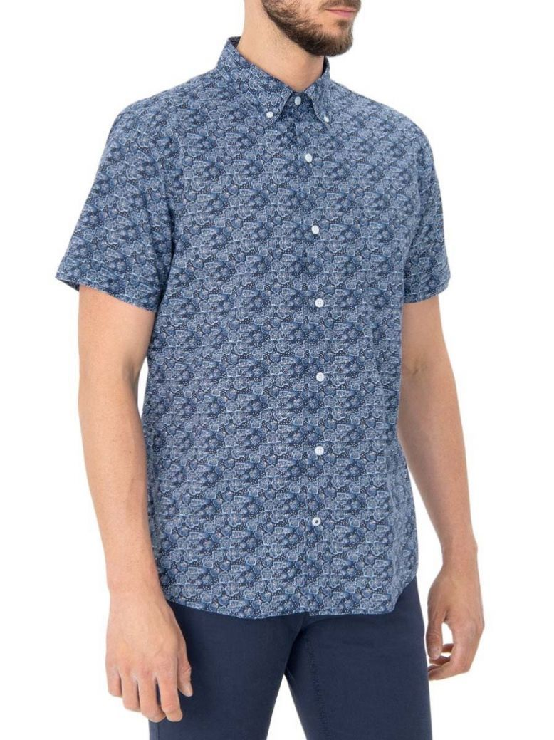 IZOD Cadet Navy Saltwater Wash Coral Print Shirt