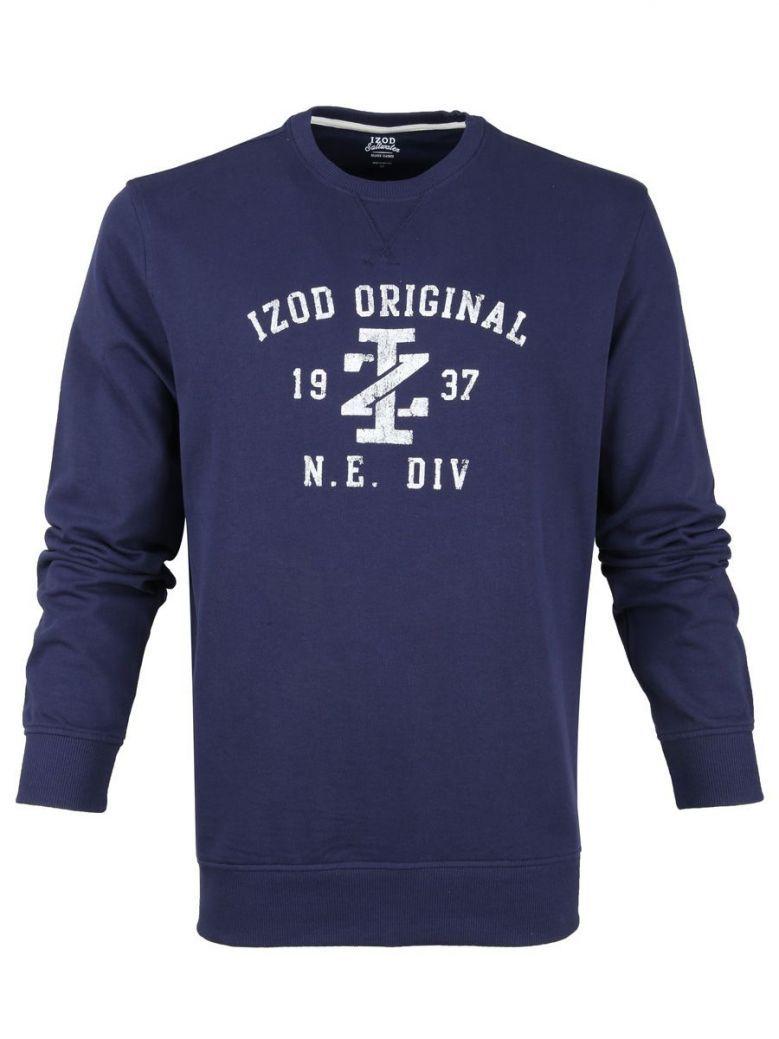 IZOD Peacoat Navy Distressed Logo Sweater