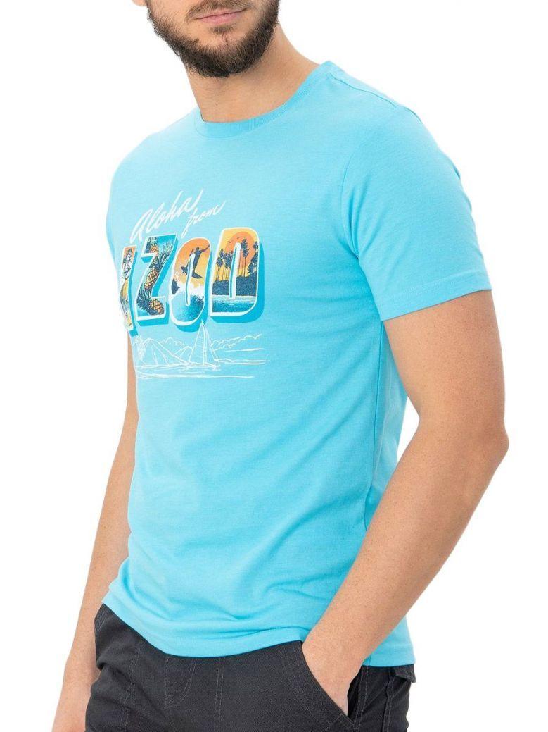 IZOD Bachelor Button Blue Aloha Graphic T-Shirt