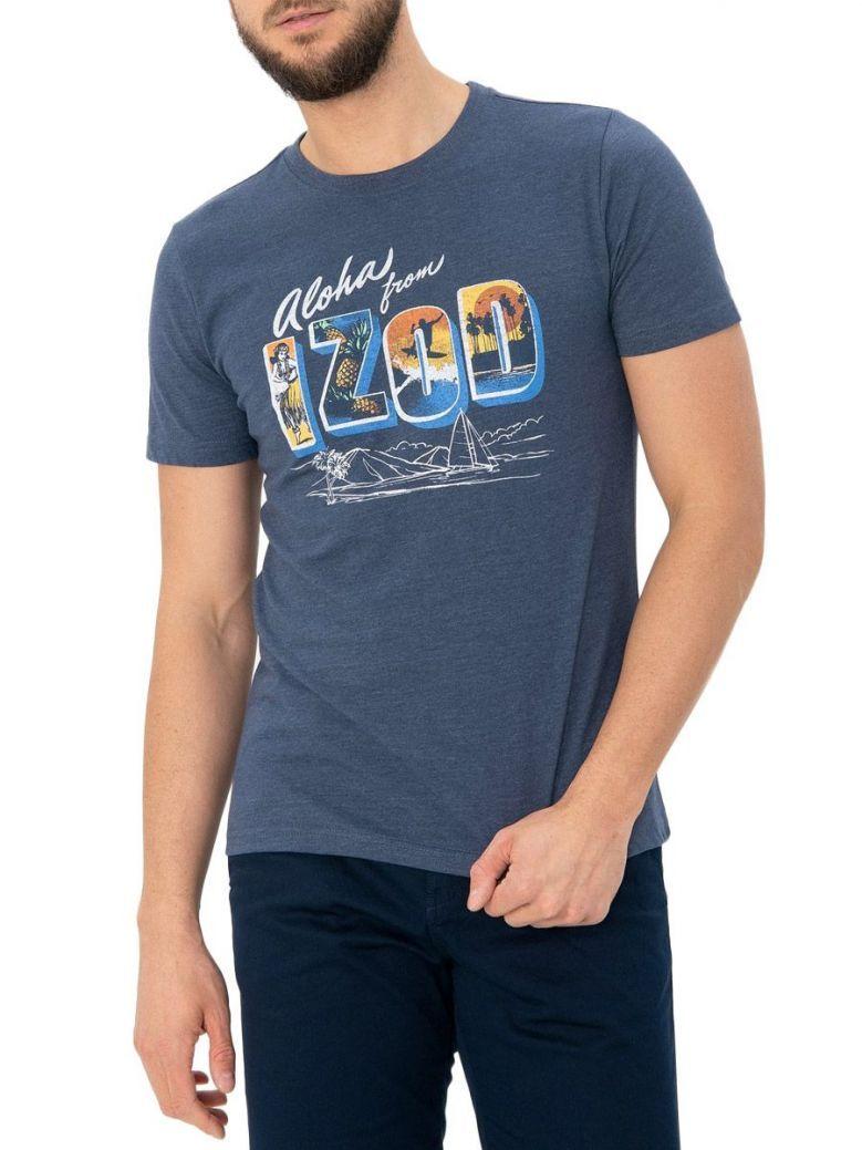 IZOD Anchor Blue Aloha Graphic T-Shirt