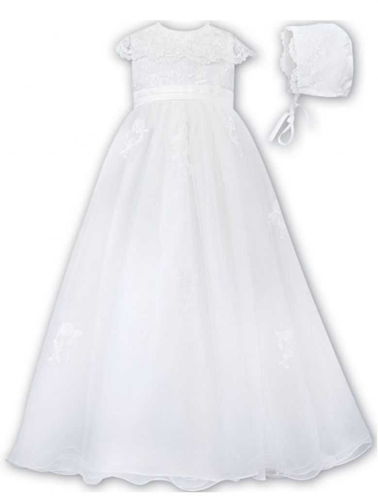 Sarah Louise White Christening Robe and Bonnet Style 001163S