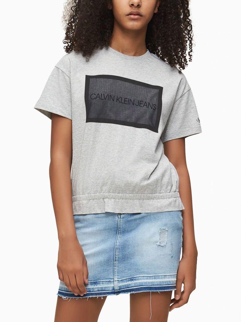 Calvin Klein Jeans Light Grey Heather Mesh Logo T-Shirt
