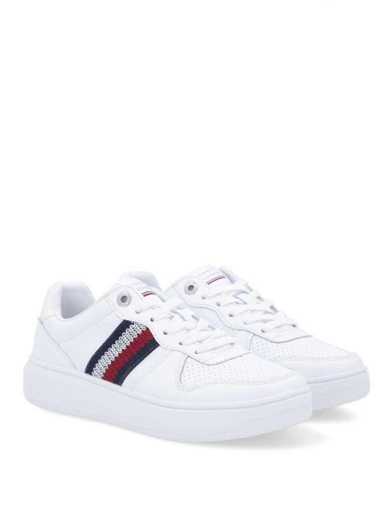 Tommy Hilfiger White Corporate Leather Cupsole Trainers