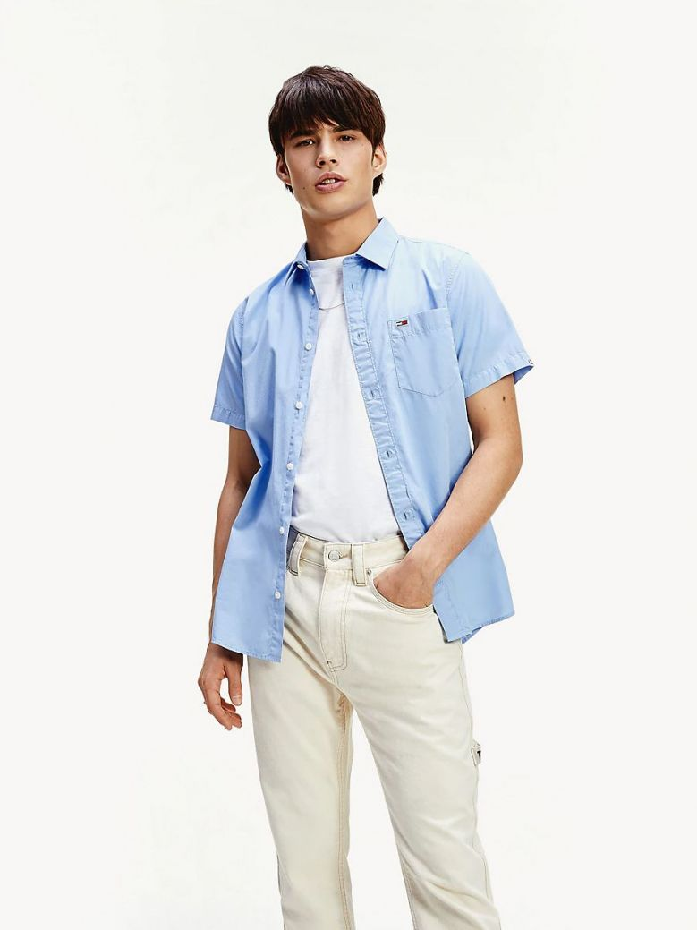 Tommy Jeans Moderate Blue Short Sleeve Patch Pocket Shirt