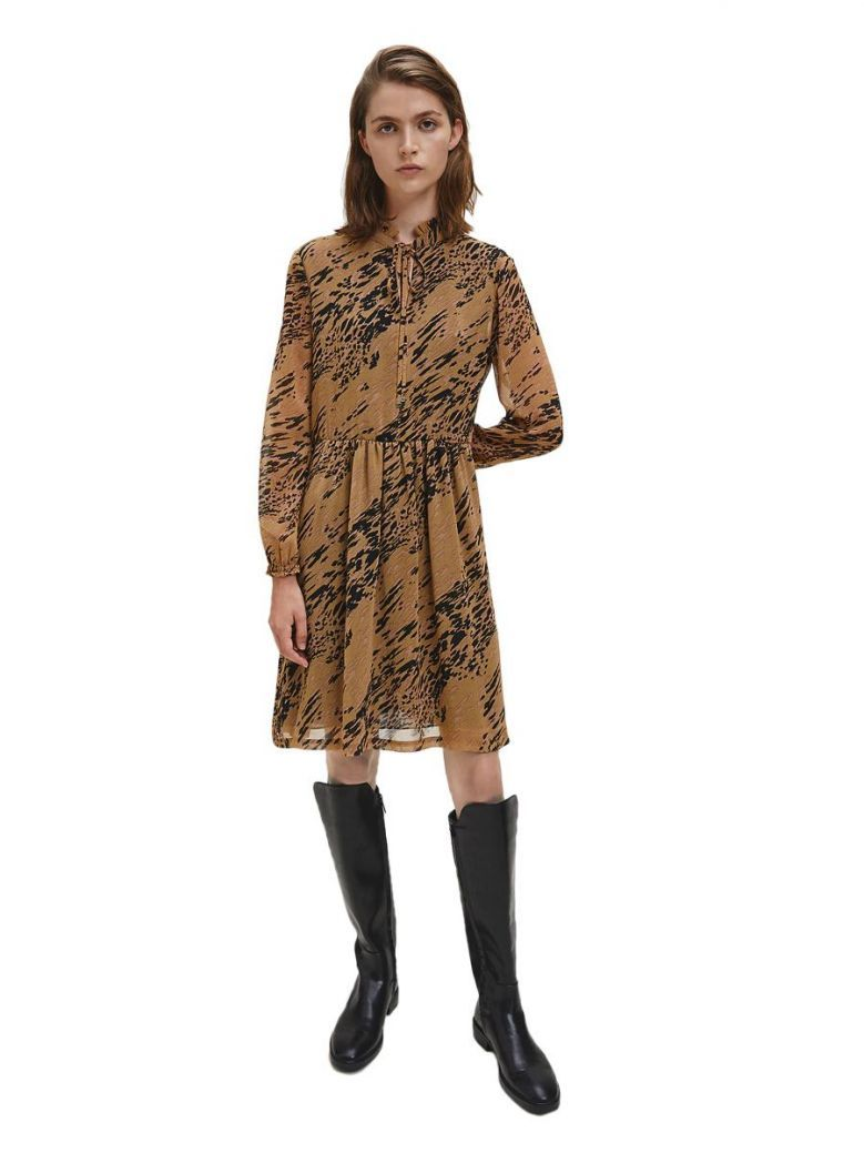Calvin Klein Smokey Leopard & Countryside Khaki Chiffon Tie Neck Dress