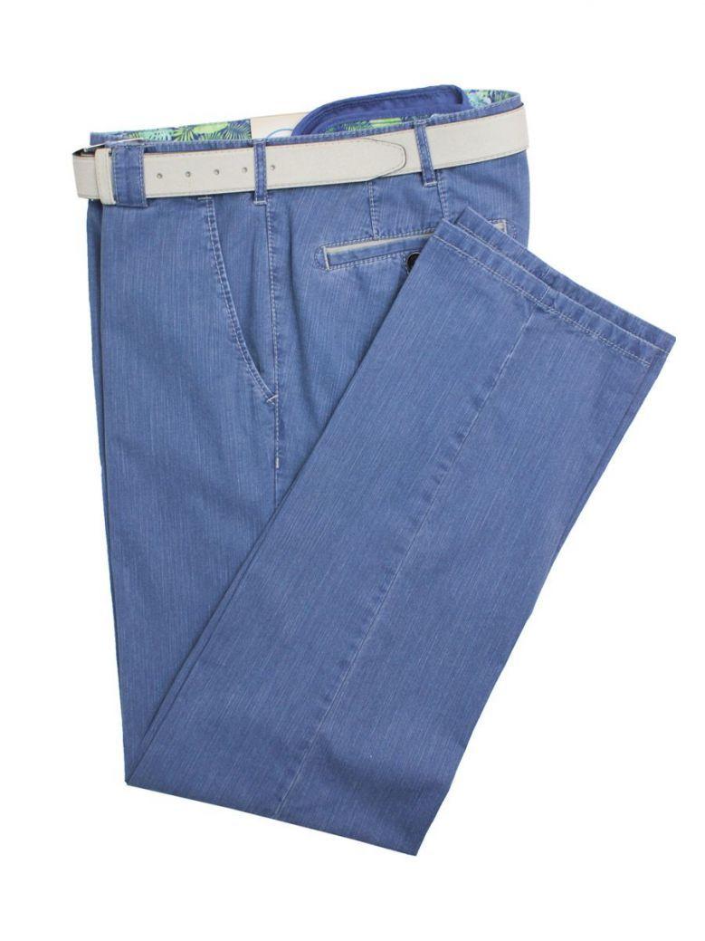 Meyer Denim Blue Roma Cotton Trousers