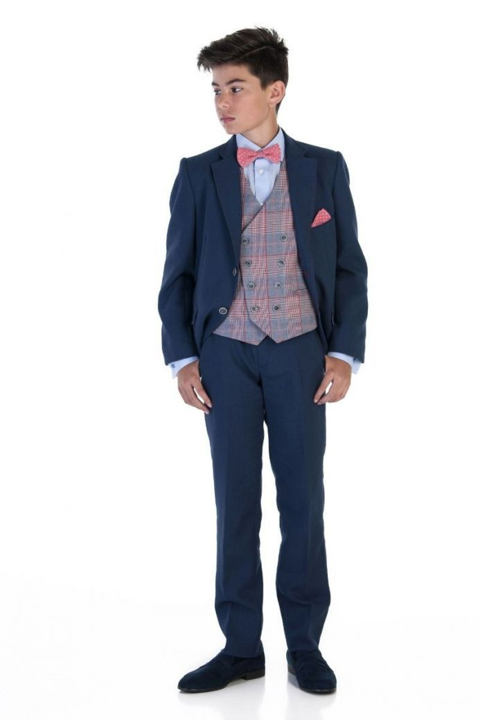 Varones Navy 2 Piece Suit With Red Stitch Detail