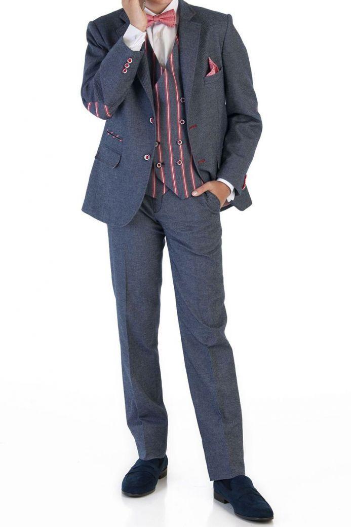 Verones Denim Navy Two Piece Suit With Pinstripe Detail