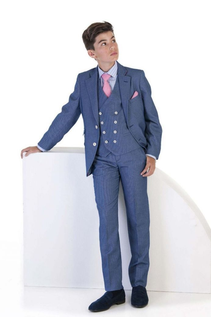 Varones Textured Blue 2 Piece Suit