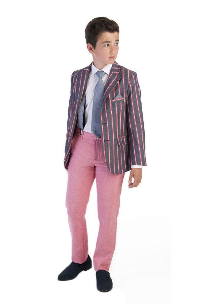 Varones Denim And Red Pinstripe Blazer