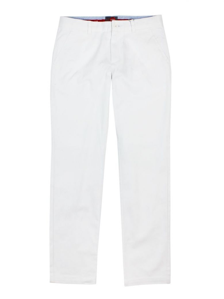 Varones White Slim Fit Trousers