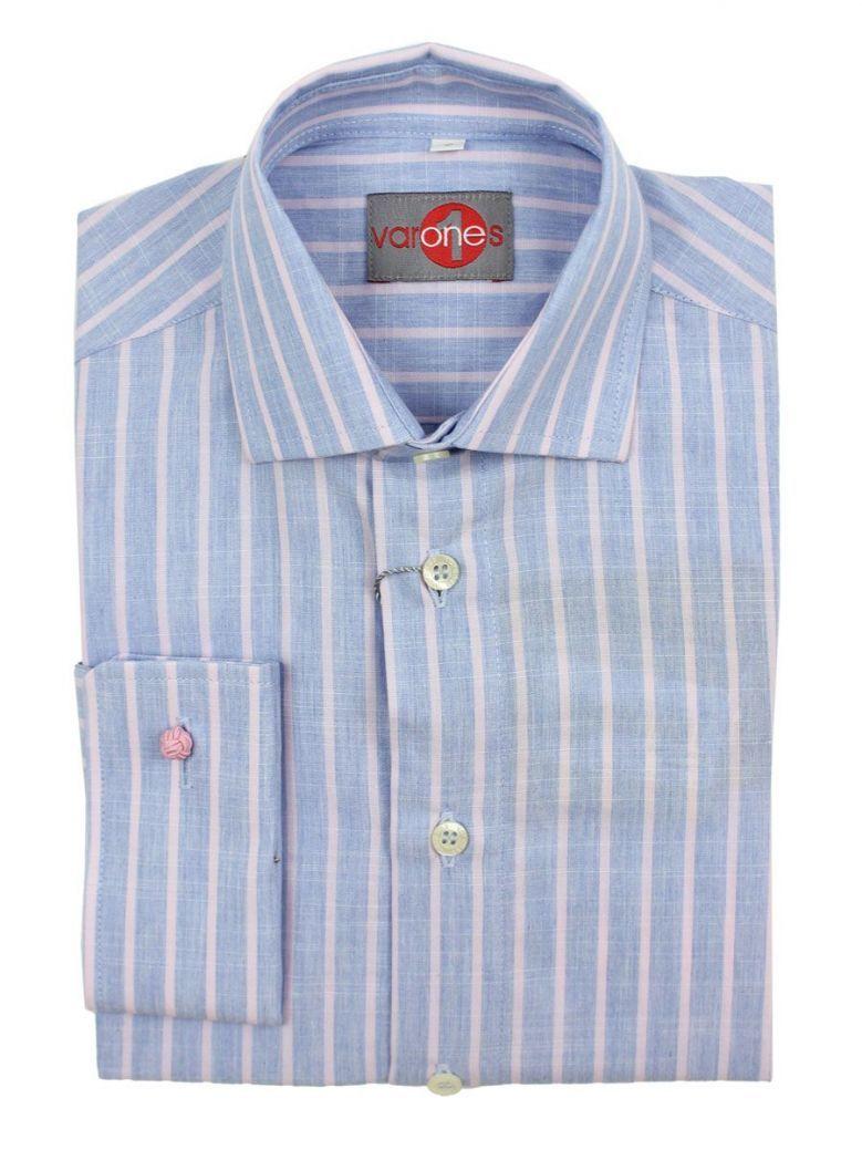 Varones Blue & Pink Striped Shirt