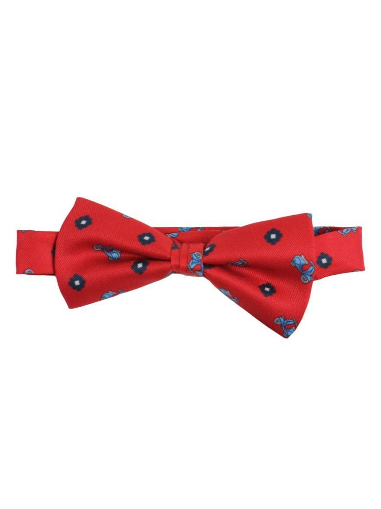 Varones Red Patterned Bow Tie
