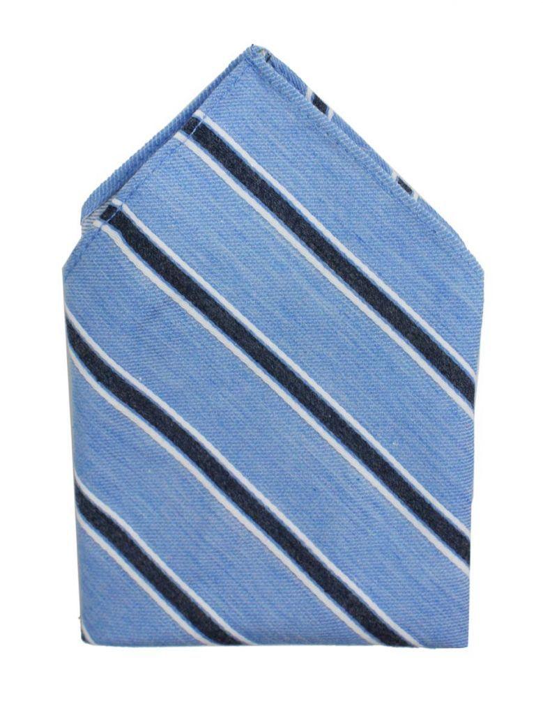 Varones Blue Stripe Pocket Square