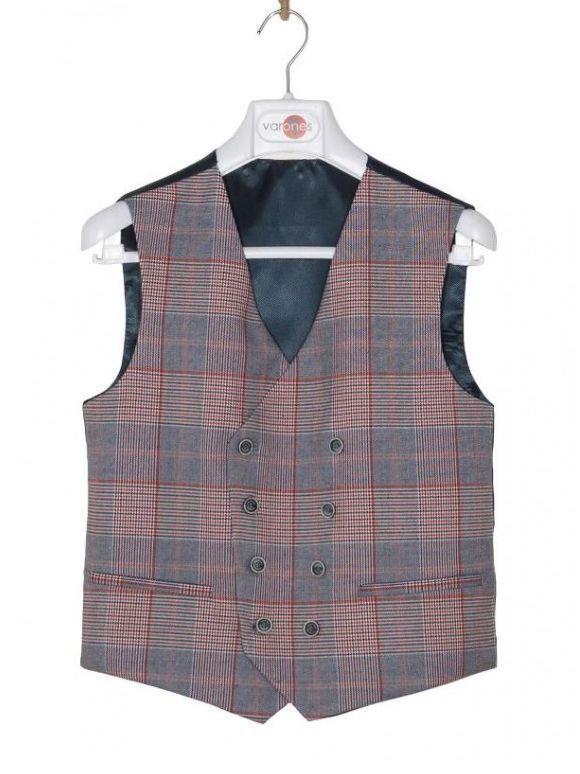 Varones Check Print Waistcoat