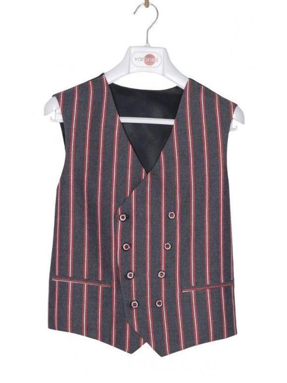 Varones Denim & Red Pinstripe Waistcoat
